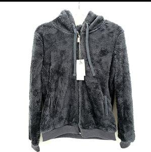 Cozy Grey Fuzzy Faux Fur Zip Up Teddy Hoodies